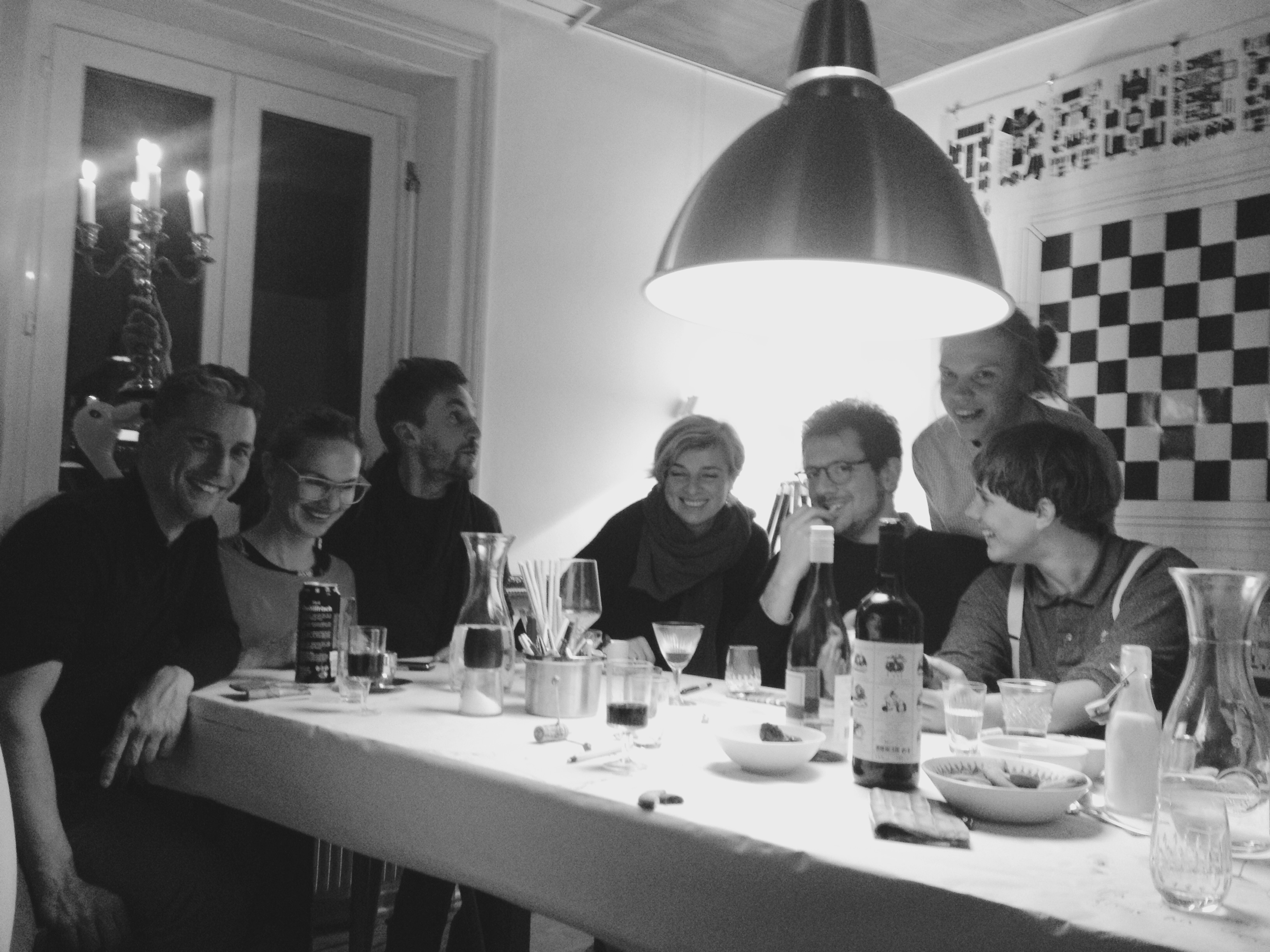 From left to right: Pablo Müller (art critic), Bettina Diel (artist), Jan Hostettler (artist, founder TomBola), Bettina Carl (artist, curator), Sébastien Peter (curator, founder Sonnenstube), Margit Säde (curator), Mirjam Bayerdörfer (founder Neuer Kunstverein Saarbrücken, assistant Curating ZhdK), invited by Patricia Bianchi (curator).